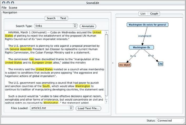 View ontology and highlight concepts in text